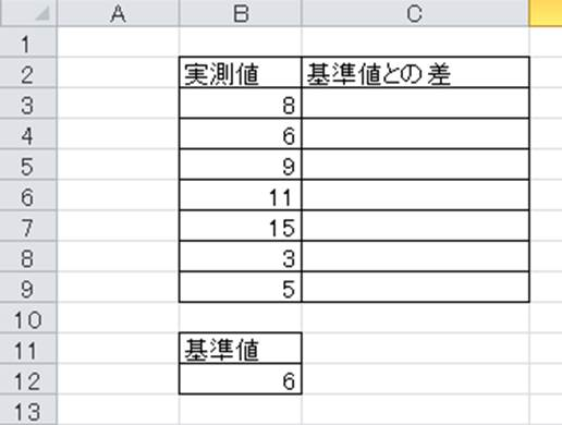 Excel】エクセルで基準値との差...