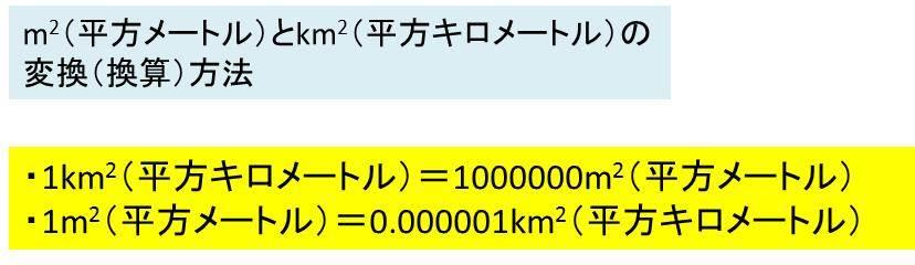 m2(平方メートル)とkm2(平方キロメートル)の換算(変換)方法 計算 ...