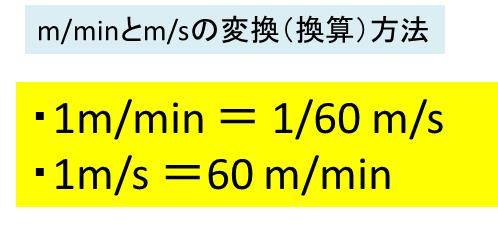 m/min(メートル毎分)とm/s(メ...